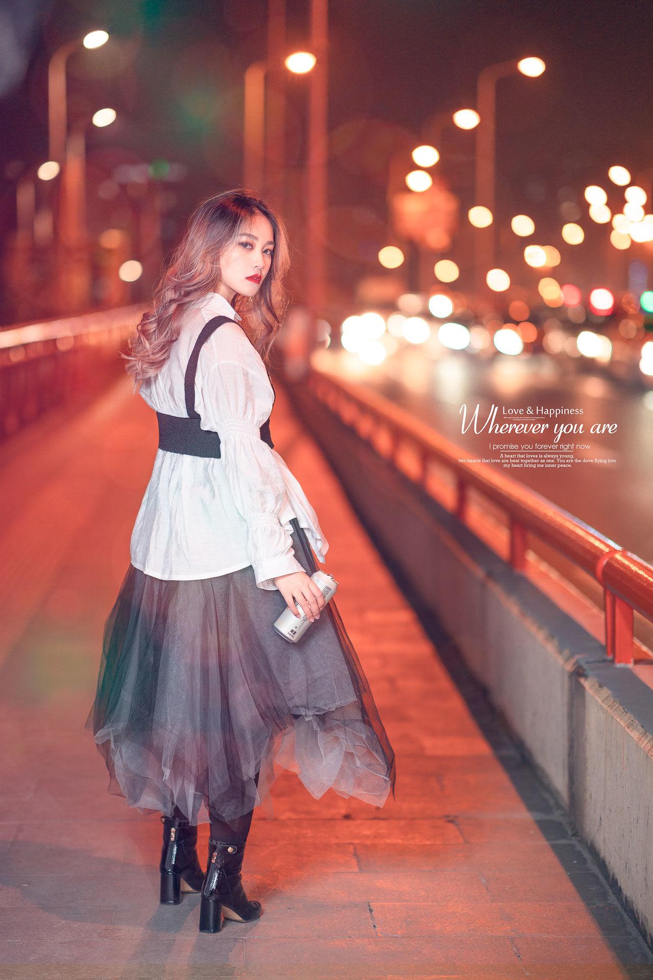 2019-01-22 汉中路高架夜景_摄影师晦恩 模特十八