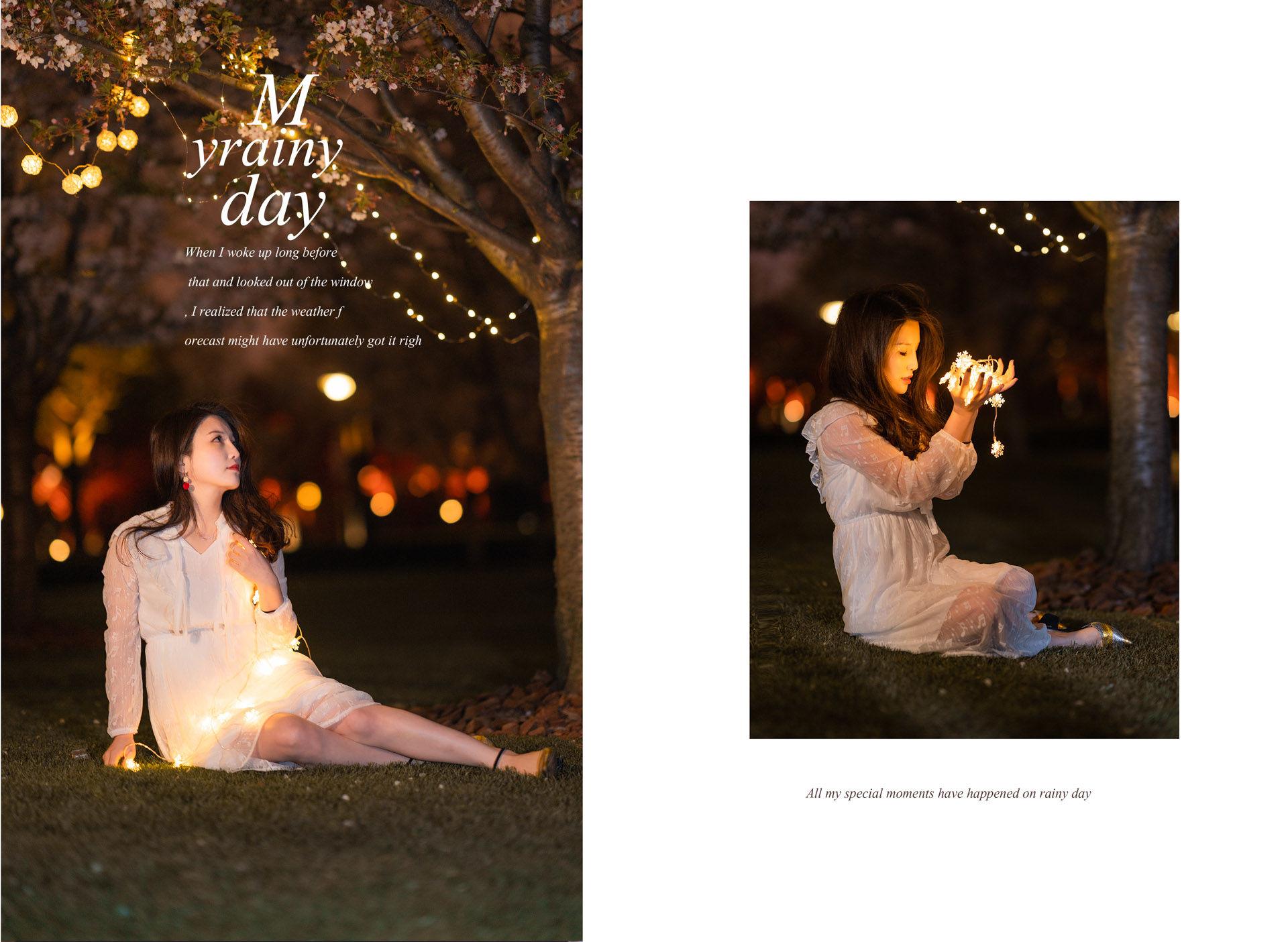 2019-04-03 森系甜美復古連衣裙 靜安雕塑公園 夜景櫻花_攝影師蔣俞歡的返片