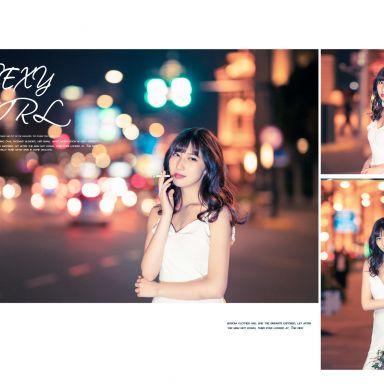 2019-04-02 外灘夜景 白色連衣裙 _攝影師蔣俞歡的返片
