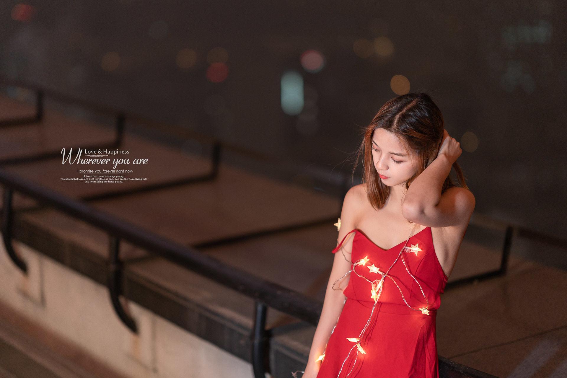 2019-04-08 天臺夜景 紅色露背連衣裙_攝影師蔣俞歡 模特于你安好